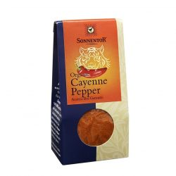 Front view of package of Sonnentor Organic Cayenne Pepper Powder