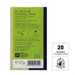 Back view of Sonnentor Soothing Throat tea blend package