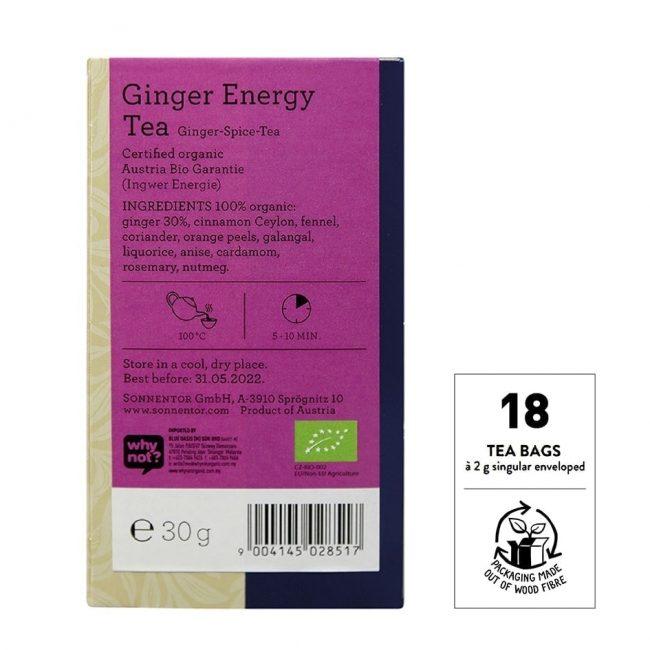 Sonnentor Organic Ginger Energy Tea, 20 tea bags