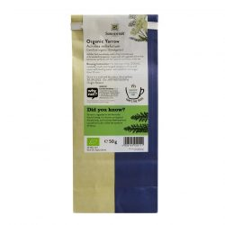 Back view of a packet of Sonnentor Organic Yarrow Tea, 50g