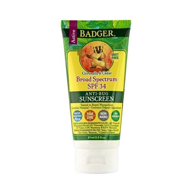 Badger Organic Sun Screen SPF 30 Plus Anti-Bug, 2.9oz