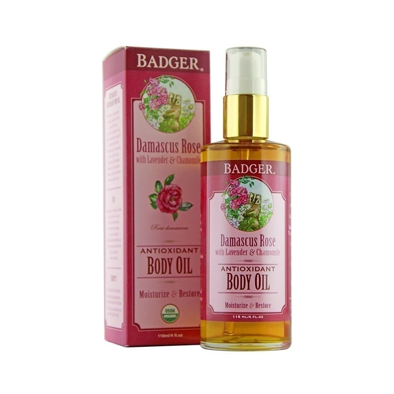 Bottle and box of Badger Organic Damascus Rose Body Oil, 118ml