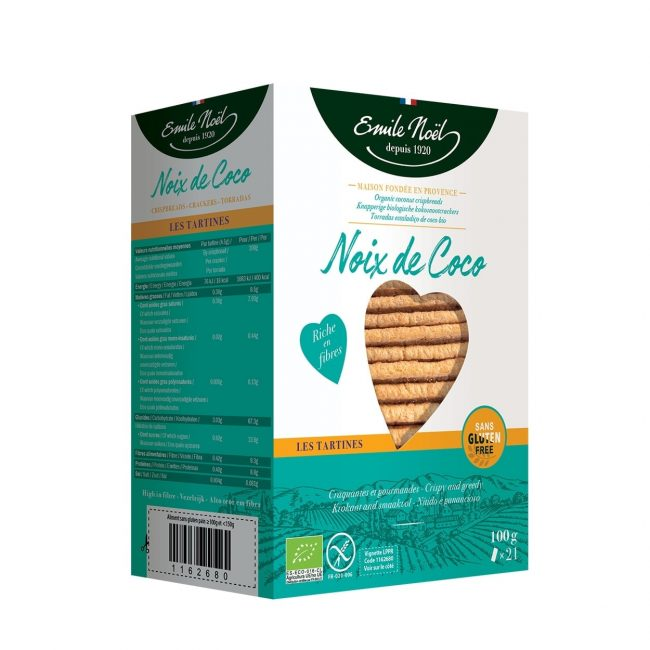 Emile Noel Organic Gluten Free Coconut Crispbread, 100g