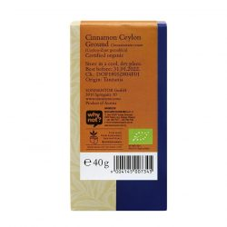 Back view of a package of Sonnentor Organic Cinnamon Ceylon Ground Powder