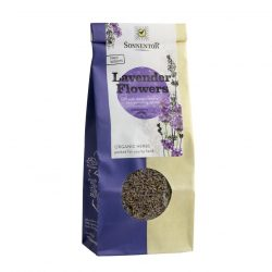 Front view of a packet of Sonnentor Lavender Flowers Tea, 70g