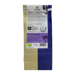 Back view of a packet of Sonnentor Lavender Flowers Tea, 70g