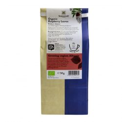 Back view of a packet of Sonnentor Raspberry Leaves Tea, 50g