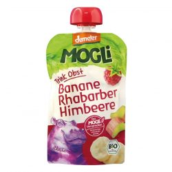 Packet of Mogli Organic Moothie - Banana, Raspberry & Rhubarb Smoothie (Demeter), 100g