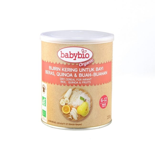 Babybio Organic Dry Cereal for Infant- Rice, Quinoa and Fruits, 220g