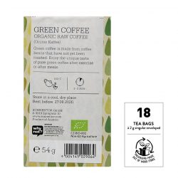 Back view of Sonnentor Organic Raw Green Coffee Flavour Tea Package