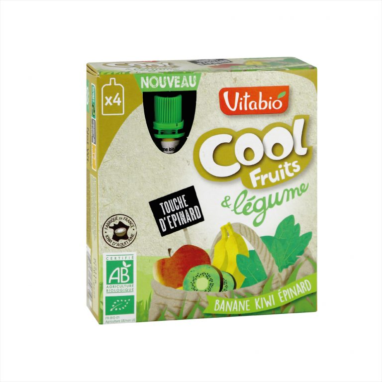 Vitabio Cool Fruit & Vegetables - Organic Banana, Kiwi & Spinach Juice, 4x90g