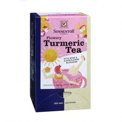 Front view of Sonnentor Organic Flowery Turmeric Tea Blend Package