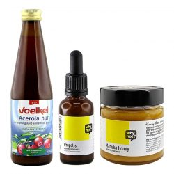 Immune Plus Essential Items including voelkel acerola juice, why not? propolis and why not? manuka honey