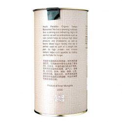Back view of a tin of Tartary Organic Buckwheat Tea, 200g