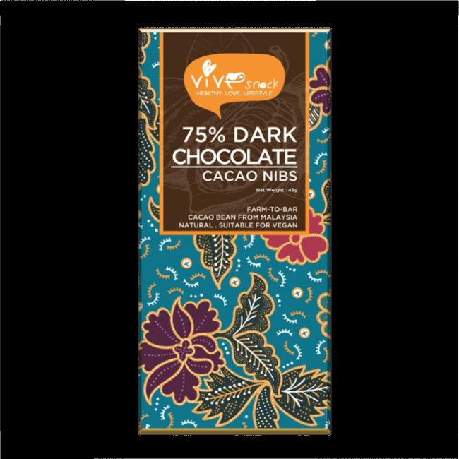 Vive 75% Dark Chocolate Bar (Cacao Nibs), 45g