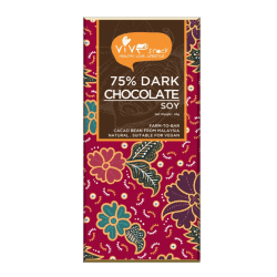 Front view of a bar of Vive 75% Dark Chocolate Bar (Soy), 45g