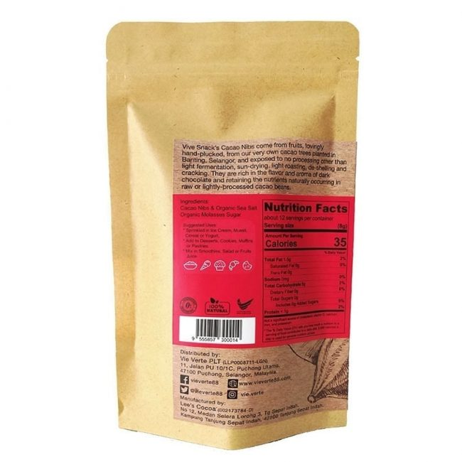 Vive Cacao Salted Nibs, 100g