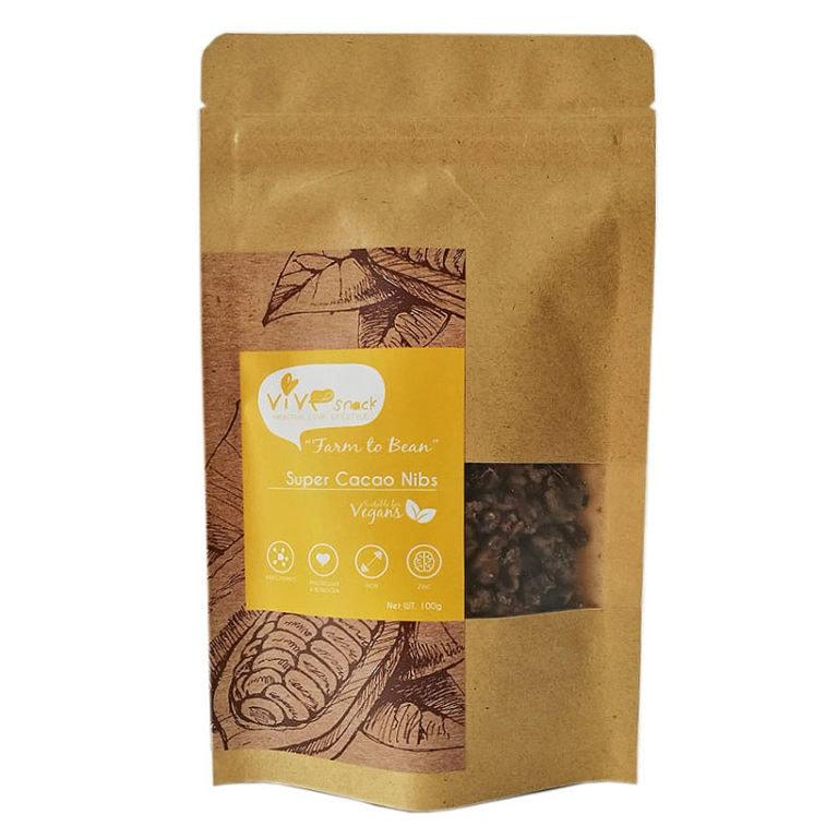 Vive Super Cacao Nibs (Molasses Sugar), 100g
