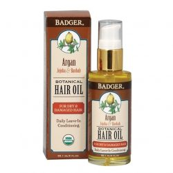 Bottle of Badger Argan Botanical Hair Oil (2oz)