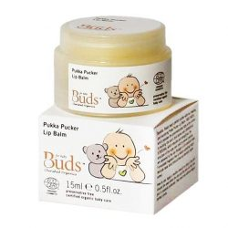 Container and box of Buds Cherished Organics - Pukka Pucker Lip Balm, 15ml