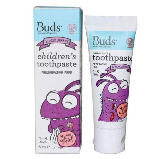 Buds Oralcare Organics - Children's Toothpaste with Xylitol - Blackcurrant, 50ml