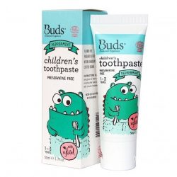 Tube and box of Buds Oralcare Organics - Children's Toothpaste with Xylitol - Peppermint (50ml)