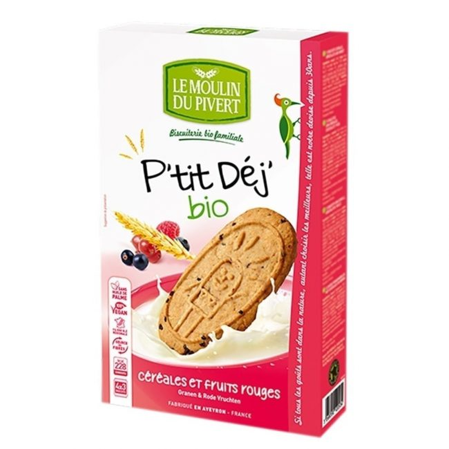 *BUY 1 FREE 1* Le Moulin Organic P'tit Cereals & Red Fruits Berries Dunking Biscuit, 190g