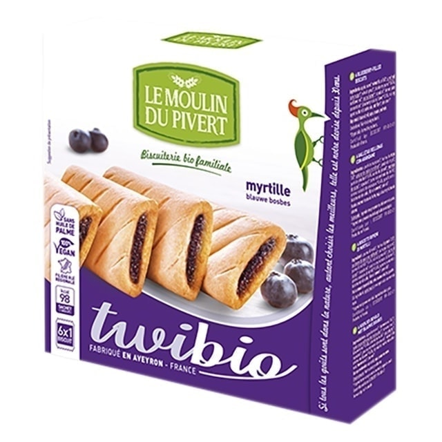 Le Moulin Organic Twibio Biscuits Filled with Blueberry, 150g