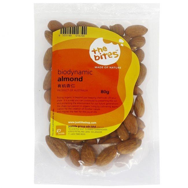 The Bites Biodynamic Almond Nuts, 80g