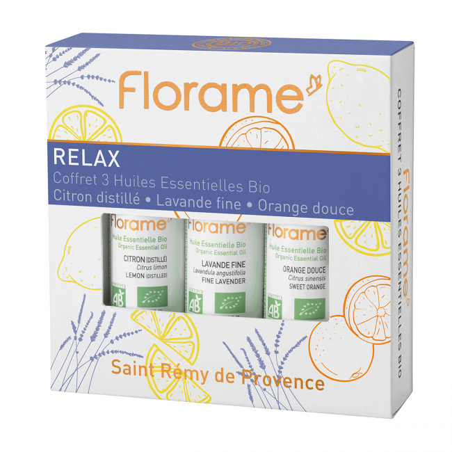 Florame Relax Box Essential Oil Set (Distilled Lemon, Fine Lavender, Sweet Orange), 10ml x 6